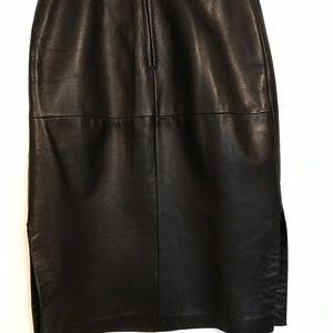 Black lamb leather skirt.